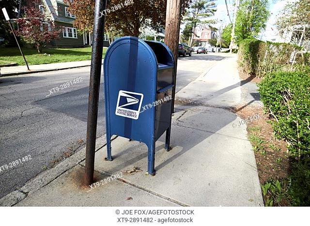 united states postal service mailbox on residential street dorchester Boston USA