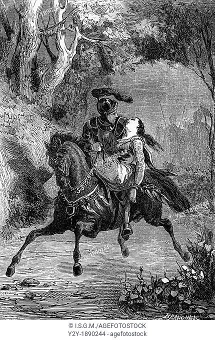 'And took her on his horse as a dam, as a relic'  Richard and Catherine  By Branculi, 1863  From 'The mysteries of consciousness', by Maquet and Enault
