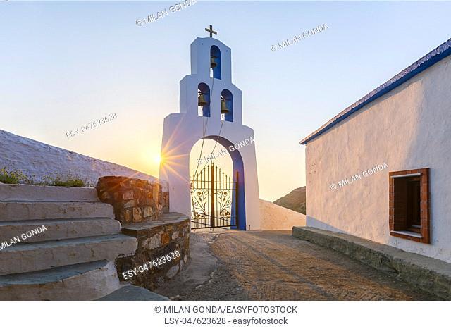 Morning at Panagia church on Fourni island in Greece.