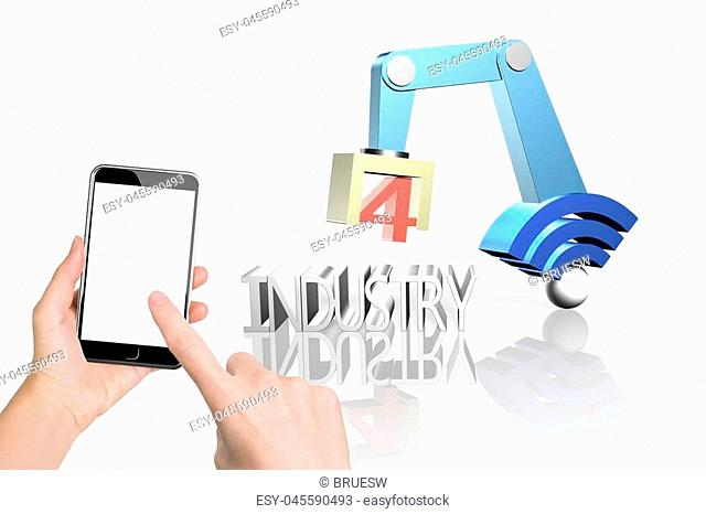 Industry 4.0 concept. Woman hand holding smart phone to control 3D robot arm with wifi sign and text of industry 4.0, isolated on white background