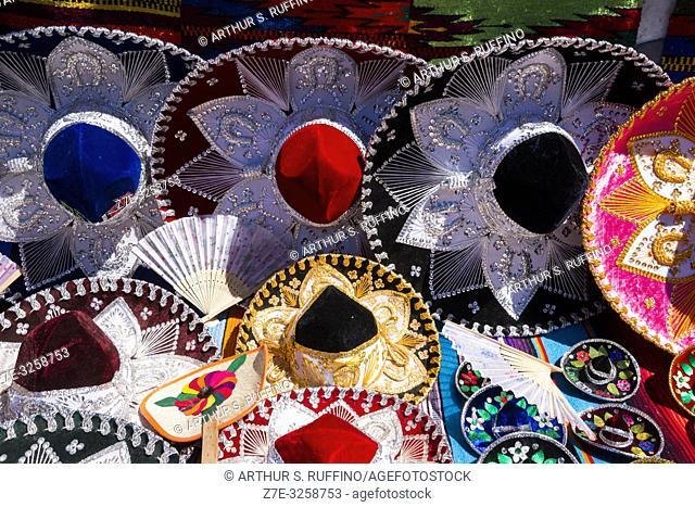 Colorful sombreros. Shopping for local crafts in downtown Loreto. UNESCO World Heritage Site. Loreto, Baja California Sur, Mexico