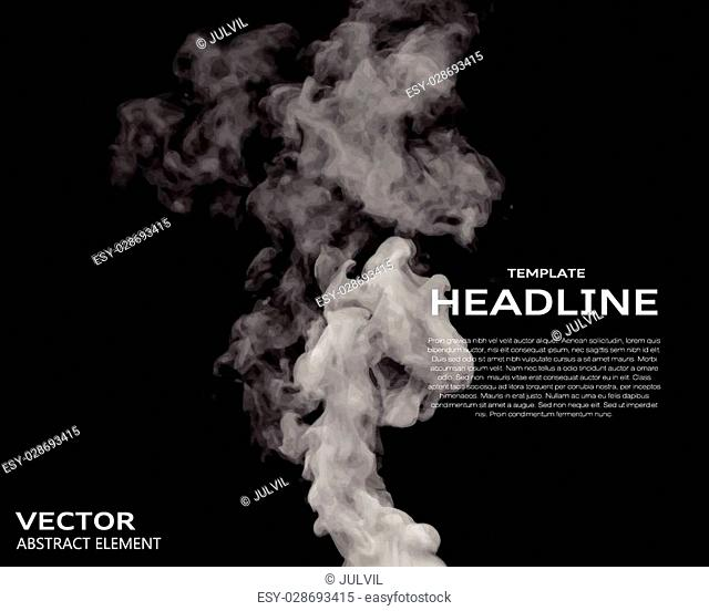 Vector illustration of smoke elements on black. Use it as a background in your design projects