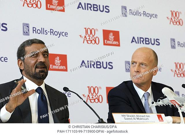 Head of Airbus Thomas Enders (R) and the chairman of the Emirates Group, sheik Ahmed bin Saeed Al Maktoum speak during a press conference at the airbus...