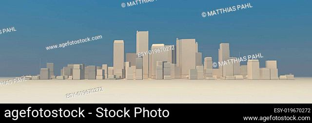 Wide Cityscape Model 3D - Slightly Foggy, no Shadow