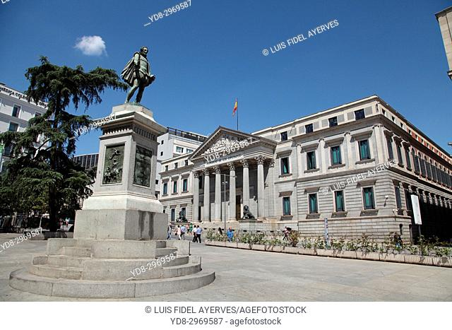 General view of the Congress of Deputies of Madrid and the statue of Cervantes in the foreground, Spain