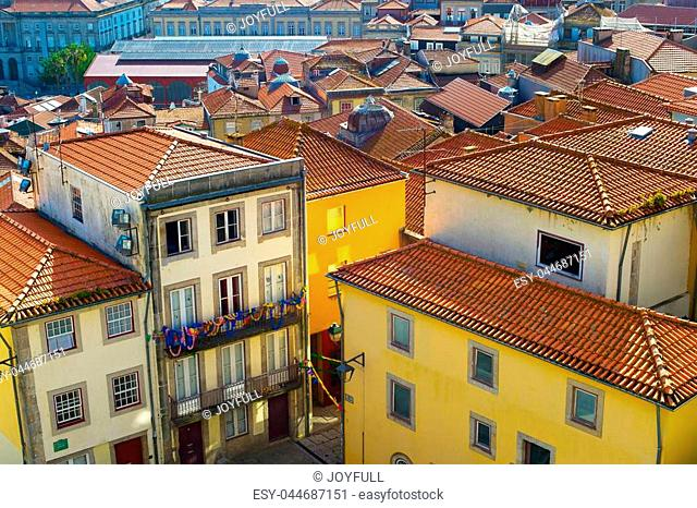 View of famous Old Town streets of Porto, Portugal