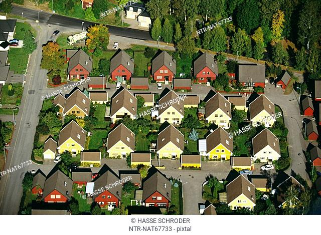 Town with houses in rows elevated view