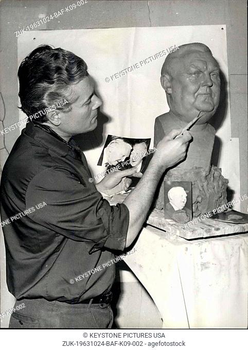 Oct. 24, 1963 - Chancellor Ludwig Erthard to enter Musee Grevin: Following sharply the world events the direction of Musee Grevin in Paris prepares a statue of...