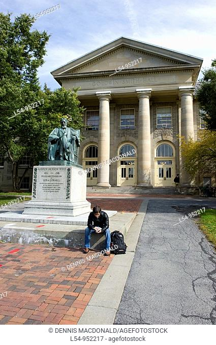 Statue of Andrew Dickson White in front of Goldwin Smith Hall Cornell University Campus Ithaca New York Finger Lakes Region