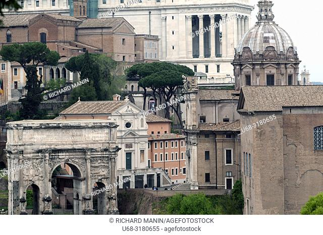 Italy, Rome. Roman Forum, Arch of Septimius Severus, Built in? ?203 AD, Santi Luca e Martina Church
