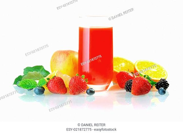 Glass of healthy fruit juice cocktail