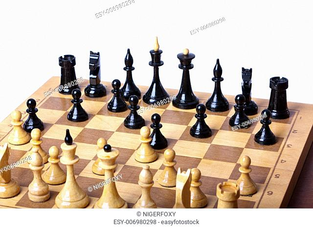chess board closeup on white background isolated