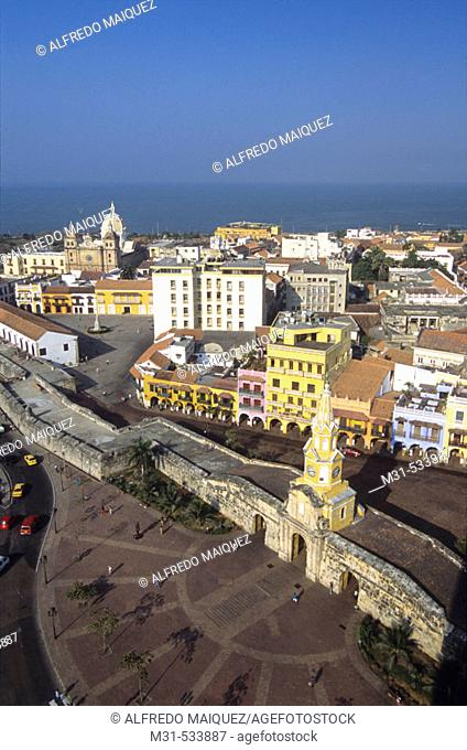 The Tower of Clock and the Aduana Square. Old Quarter at Cartagena de Indias. Colombia