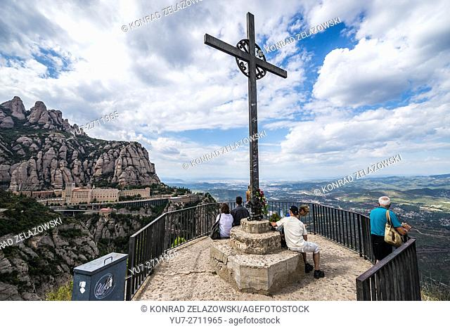 Cross of Saint Michael near Benedictine abbey Santa Maria de Montserrat on Montserrat mountain, Monistrol de Montserrat, Spain