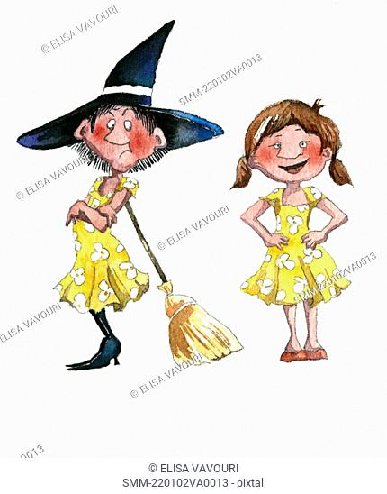 Witch jealously copying little girl, wearing the same dress