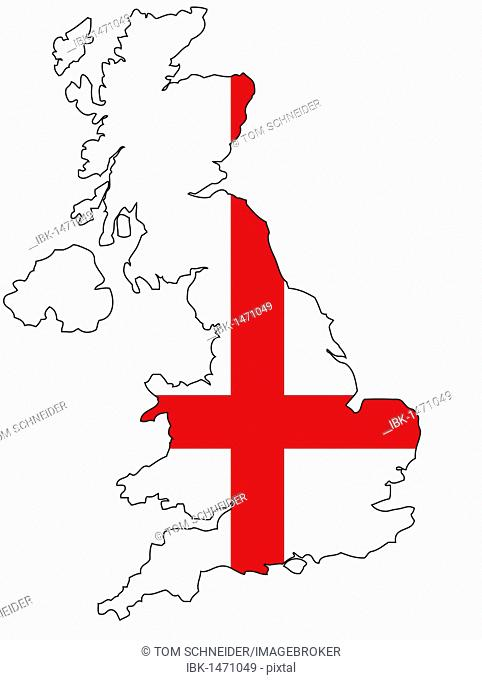 United Kingdom and English flag, outline