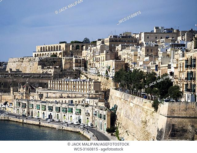 la valletta famous old town fortifications architecture scenic view in malta