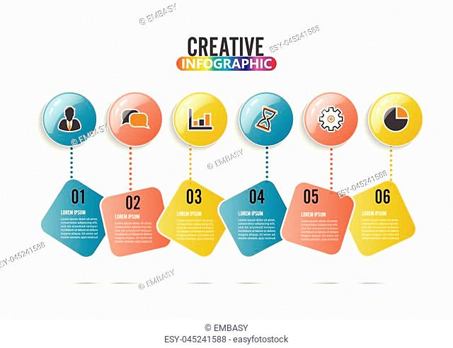 Infographic design vector and marketing icons can be used for workflow layout, diagram, annual report, web design. Business concept with 6 options