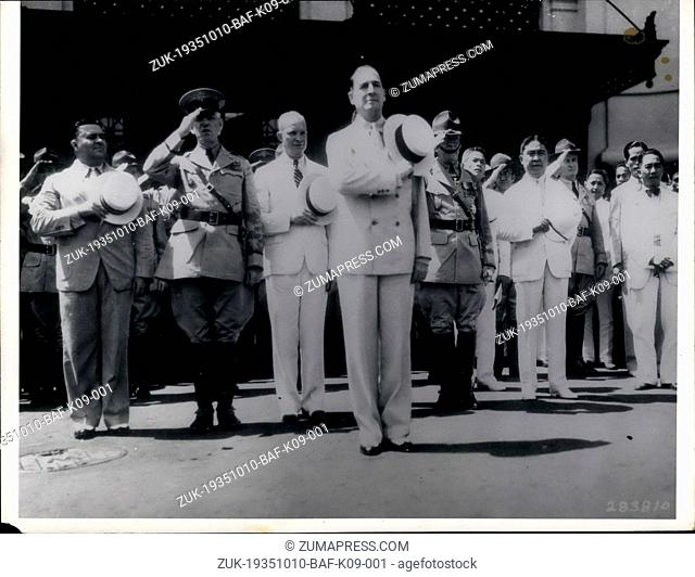 Oct. 10, 1935 - Ike and Doug at Manila: Manila, Philippine Islands: - Ceremonies when general Douglas MacArthur (foreground) arrived aboard U.S