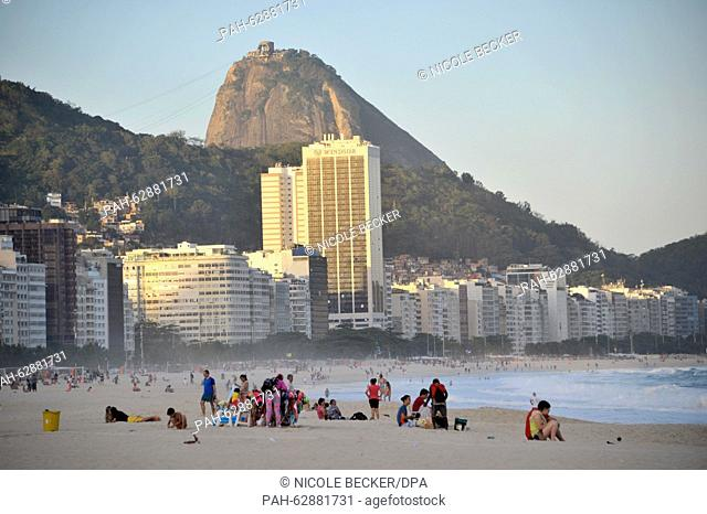 View of the Windsor Hotel which is illuminated by the setting sun atz the beacj of the Copacabana in Rio de Janeiro, Brazil, 07 October 2015