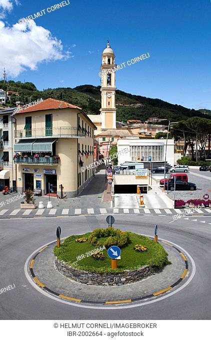 Village view, roundabout, belfry of the church of Santa Croce, 18th century, old town, Moneglia, Genoa Province, Liguria, Italian Riviera or Riviera di Levante