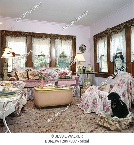 Interior of vintage living room with dog sitting in pet bed