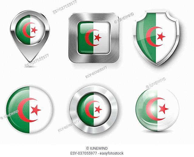 Algeria Metal and Glass Flag Badges, Buttons, Map marker pin and Shields. Vector illustrations