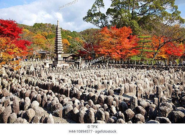 Asia, Japan, Honshu, Kyoto, Arashiyama, Adashino Nembutsu-ji Temple, Nembutsu-ji, Temple, Temples, Seasons, Autumn, Fall, Autumn Leaves, Autumn Colours