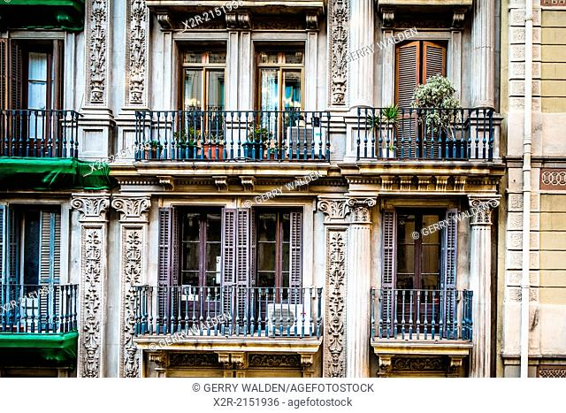 Balconies on Calle Gravina, Barcelona, Spain