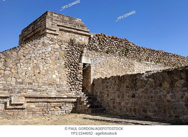 Building II in the East Group at Monte Albán - Santa Cruz Xoxocotlán, Centro District, Valles Centrales, Oaxaca, Mexico. Building II was constructed around 100...