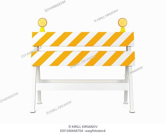 Safety roadblock. 3d illustration isolated on white background