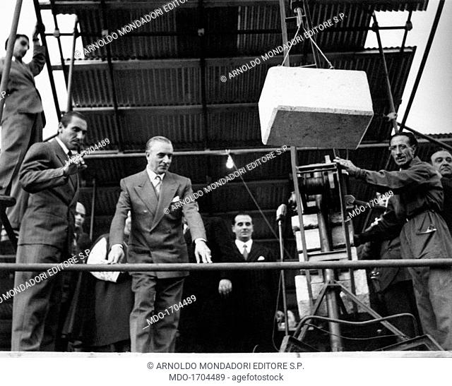 Pietro Campilli at the laying of the foundation stone. The Italian Honourable Pietro Campilli at the laying of the foundation stone for one of the works of...
