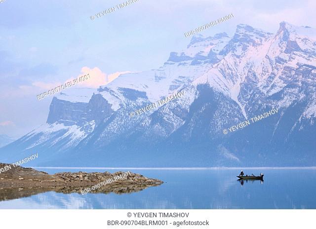 fisher on minnewanka lake