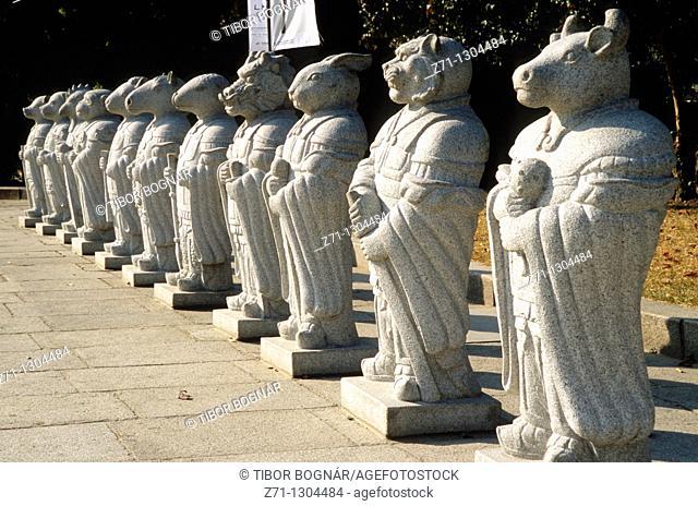 South Korea, Seoul, National Folk Museum, statues of oriental zodiac signs