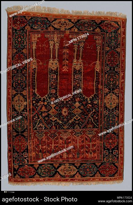 Prayer Rug with Coupled Columns. Object Name: Carpet; Date: early 18th century; Geography: Attributed to Turkey, Ladik, Konya; Medium: Wool (warp