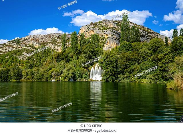 Croatia, Dalmatia, region of Sibenik, Krka National Park, Roski Slap, Visovac lake, waterfall