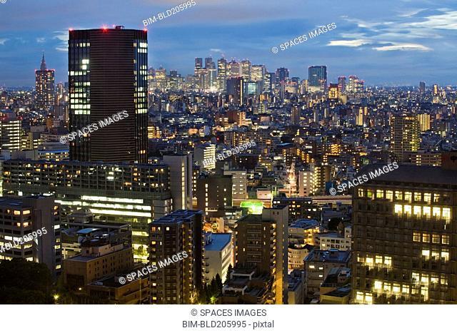 Downtown Tokyo skyline at dusk, Tokyo, Japan