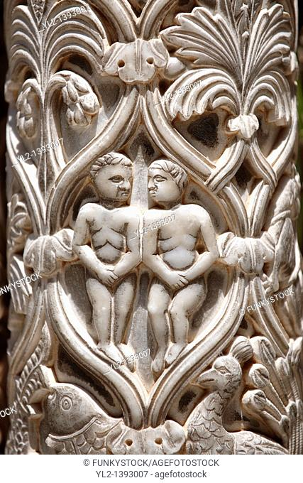 Adam and Eve sculpted in the columns of the cloisters of Monreale Cathedral - Palermo - Sicily