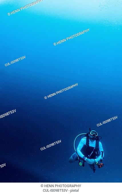 Scuba diver in Indian Ocean, Maldives