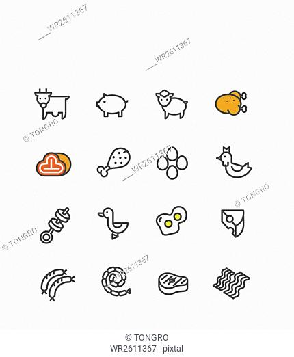 Various line icon set related to meat