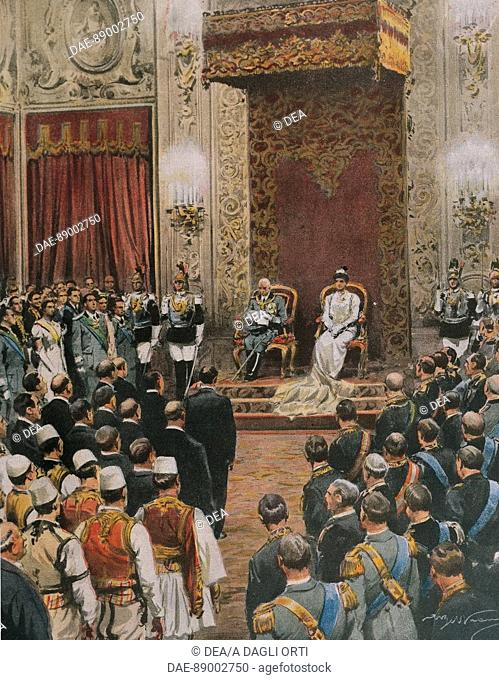 The King of Italy, Vittorio Emanuele III of Savoy, being crowned King of the Albanians. Illustrator Achille Beltrame (1871-1945), from La Domenica del Corriere