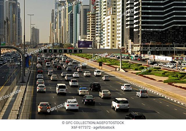 Heavy traffic on multi-lane Sheikh Zayed Road, Dubai, United Arab Emirates