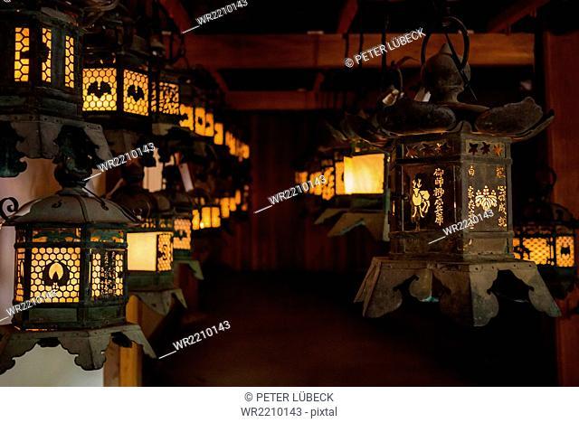 Lanterns at Kasuga-taisha shrine in Nara, Japan