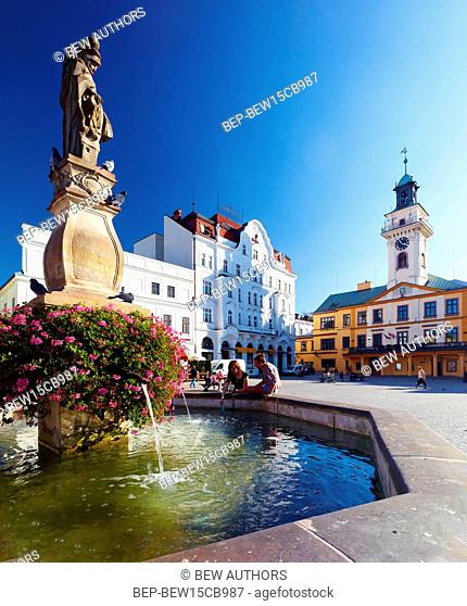 Poland, Silesian Province, Cieszyn. Market Square. Town hall and apartment house 'Brown Deer', well with the figure of St Florian