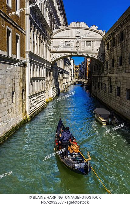 Looking from Bridge of Sighs to canal behind Doge's Palace, Venice, Italy