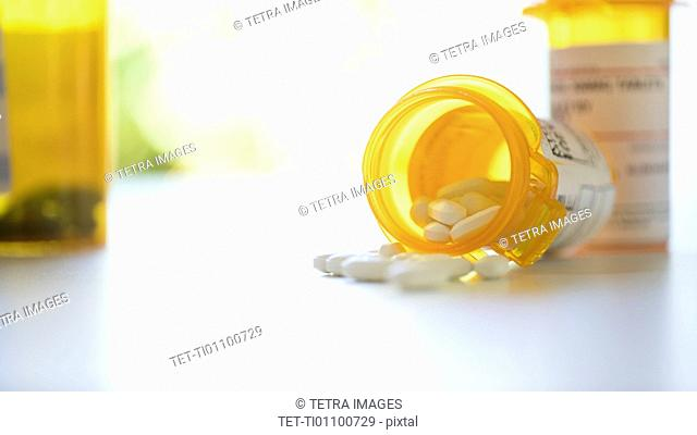 Pill bottles on table