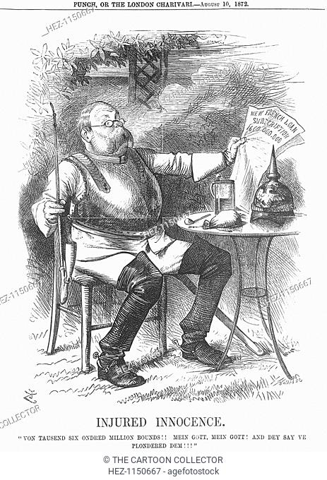 'Injured Innocence', 1872. Germany reels at the headline in the newspaper confirming the amount of money that France has raised to pay off her war indemnity