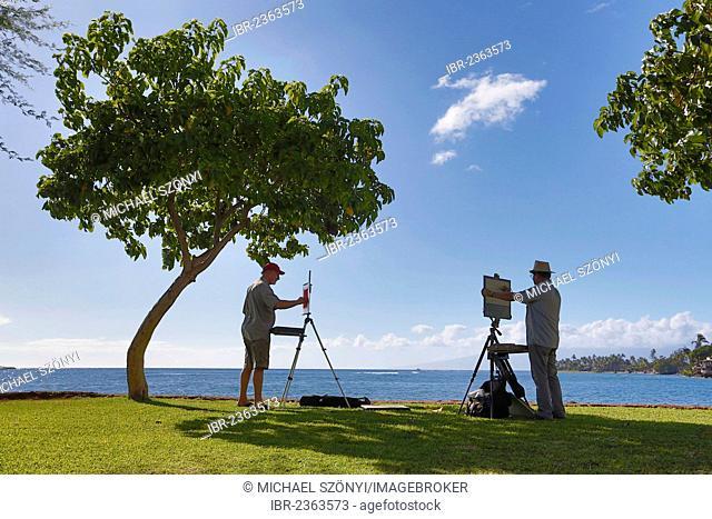 Painter at the port of Lahaina, Maui, Hawaii, USA, America