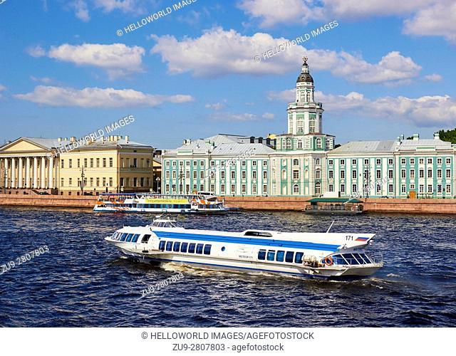 Kunstkammer Museum and river cruise boat, river Neva, Vasilevskiy Island, St Petersburg, Russia