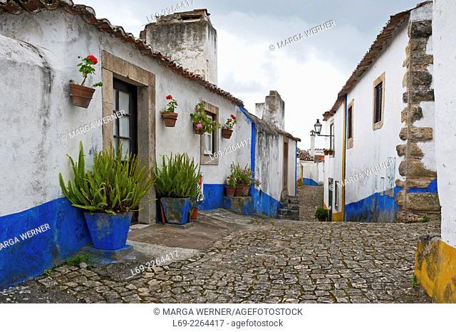 Medieval old town of Obidos, Leiria District, Portugal, Europe